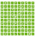 100 light source icons set grunge green vector image vector image