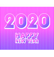 2020 happy new year background retro line design vector image vector image