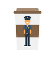 A policeman drinks coffee vector image