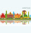 amritsar india city skyline with color buildings vector image vector image