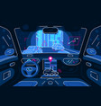 autonomous car driving in tunnel vector image vector image