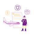 aviation insurance concept stewardess stand near vector image