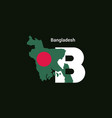bangladesh initial letter country with map and vector image