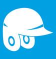baseball helmet icon white vector image vector image