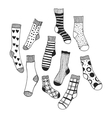 Black and white doodle socks isolated vector image vector image