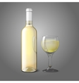 Blank realistic bottle for white wine with glass vector image vector image