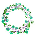 Blue Flower watercolor wreath for beautiful design vector image vector image