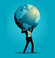 businessman carrying globe on his shoulder vector image vector image