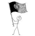 cartoon of man waving the flag of portuguese vector image