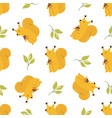 cute seamless pattern with funny yellow squirrels vector image vector image