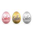 easter egg 3d icon gold pastel eggs set vector image