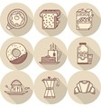 Flat line icons for tasty breakfast vector image vector image