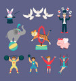flat set of circus animals and people vector image vector image