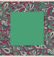 floral doodle ethnic pattern frame green for vector image