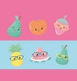 fresh and tropical fruits kawaii characters vector image vector image