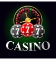 Gambling icon with chips and roulette vector image