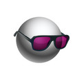 gray ball wearing sunglasses isolated on white vector image vector image
