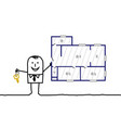 hand drawn cartoon characters - real estate agent vector image