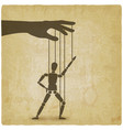 hand with dancing puppet vintage background vector image