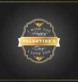 Happy Valentines Day Vintage Retro Golden Badge vector image vector image