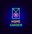home garden neon label vector image vector image