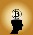 human head silhouette with sign of bitcoin above vector image