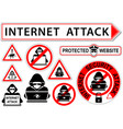 internet attack signs or icons vector image vector image