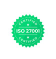 iso 27001 badge vector image vector image
