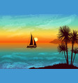 landscape with palms and ship vector image vector image