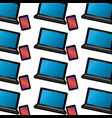 laptop computer with smartphone pattern image vector image vector image