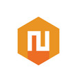 Letter n logo icon orange and yellow color