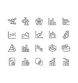 line charts and diagrams icons vector image vector image