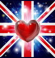 love uk flag heart background vector image vector image