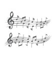 music notes on staves on white vector image vector image