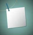 Note paper hang on string with clothes pin vector image