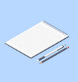 opened notepad with pencil and pen sketchbook or vector image
