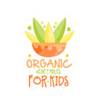 Organic vegetables for kids logo design healthy