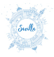 Outline Seville Skyline with Blue Buildings vector image vector image