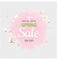 pink stain with flowers sale banner transparent vector image vector image