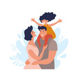 portrait a happy family with a child a man vector image