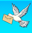 postal pigeon with letter pop art style vector image