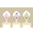 Pretty women with cosmetic mask on faces vector image
