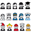 professions people icon set vector image