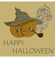 pumpkin with hat smoking vector image