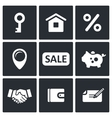 Real Estate Deal icon collection vector image vector image