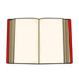 red cartoon open book isolated on white vector image vector image
