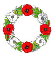 round frame of poppy flowers buds and leaves vector image vector image