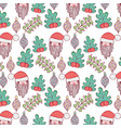 santa claus head with balls and leafs pattern vector image