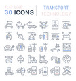 set line icons transport technology vector image vector image