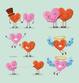 set of love hearts character happy valentines day vector image
